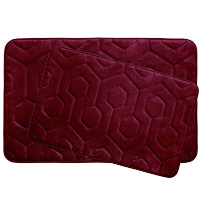 Hexagon 2 Piece Plush Memory Foam Bath Mat Set Color: Barn