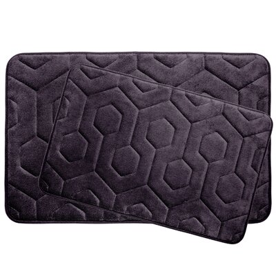 Hexagon 2 Piece Plush Memory Foam Bath Mat Set Color: Plum