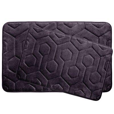 Hexagon 2 Piece Plush Memory Foam Bath Mat Set Color: Plum