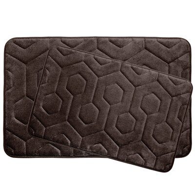 Hexagon 2 Piece Plush Memory Foam Bath Mat Set Color: Espresso