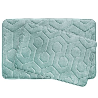 Hexagon 2 Piece Plush Memory Foam Bath Mat Set Color: Aqua