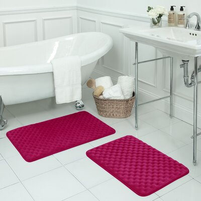Massage 2 Piece Premium Micro Plush Memory Foam Bath Mat Set Color: Fuchsia