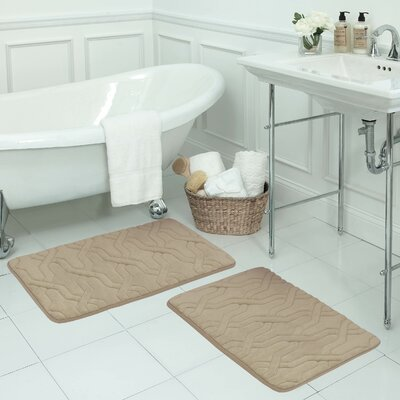 Drona Large 2 Piece Premium Micro Plush Memory Foam Bath Mat Set Color: Linen