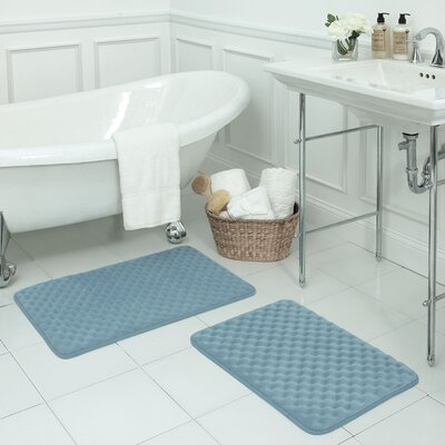 Massage Premium Micro Plush Memory Foam Bath Mat Set Color: Light Blue