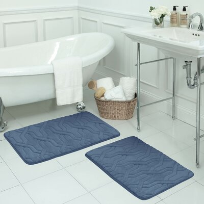 Drona Large 2 Piece Premium Micro Plush Memory Foam Bath Mat Set Color: Dusty Blue