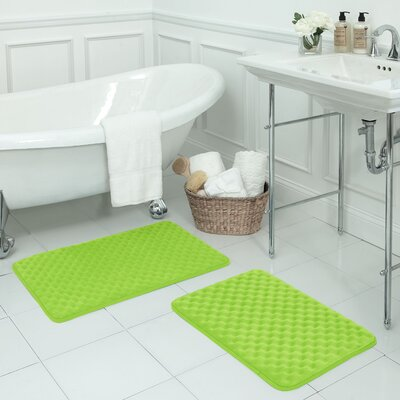 Massage 2 Piece Premium Micro Plush Memory Foam Bath Mat Set Color: Lime