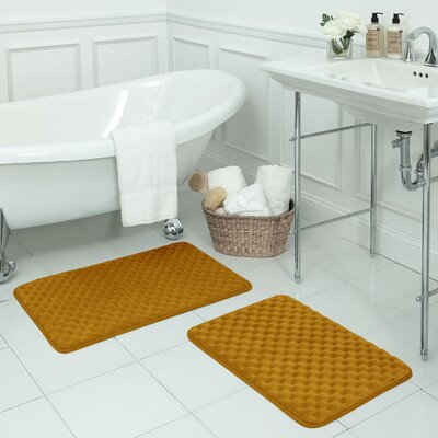 Massage 2 Piece Premium Micro Plush Memory Foam Bath Mat Set Color: Orange