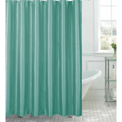 Samar Faux Silk Shower Curtain Set Color: Aqua