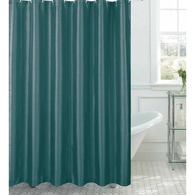 Samar Faux Silk Shower Curtain Set Color: Grey Teal