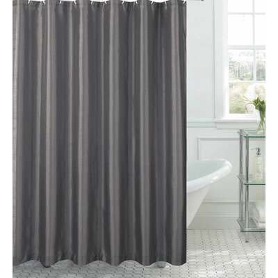Samar Faux Silk Shower Curtain Set Color: Charcoal