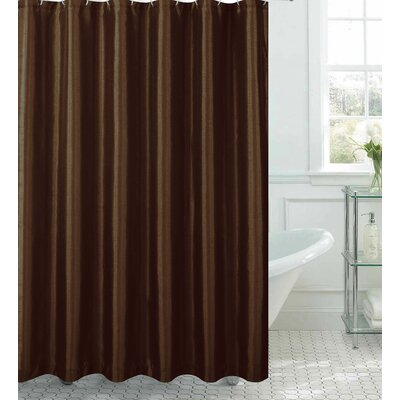 Samar Faux Silk Shower Curtain Set Color: Chocolate