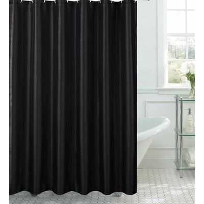 Samar Faux Silk Shower Curtain Set Color: Black