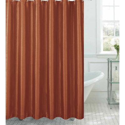 Samar Faux Silk Shower Curtain Set Color: Rust