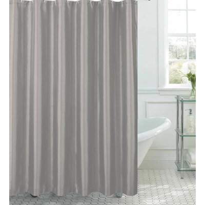 Samar Faux Silk Shower Curtain Set Color: Silver