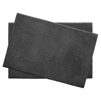 Plush Memory Foam Chenille Cushioned Bath Mat Color: Dark Grey, Size: 24 x 17