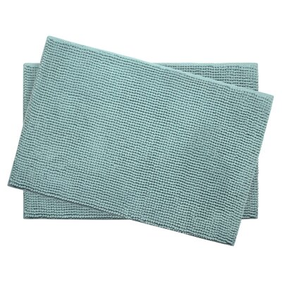 Plush Memory Foam Chenille Cushioned Bath Mat Color: Aqua, Size: 24 x 17