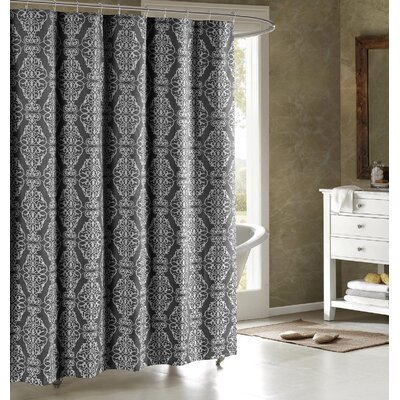 Adisson Printed Shower Curtain Color: Charcoal