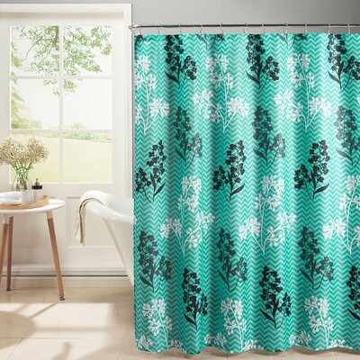 Diamond Weave Textured Shower Curtain Set Color: Turquoise