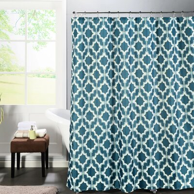 Faux Linen Textured Shower Curtain Set Color: Blue/White