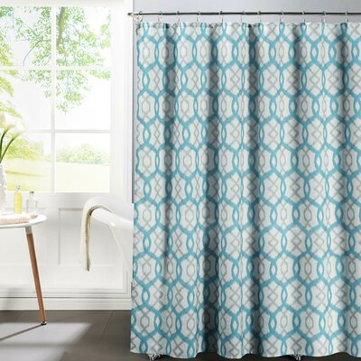 Faux Linen Textured Shower Curtain Set Color: Aqua