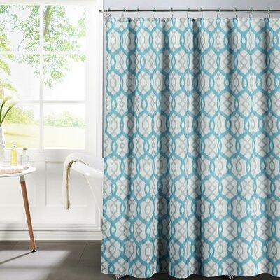 Faux Linen Textured Shower Curtain Set Color: Aqua