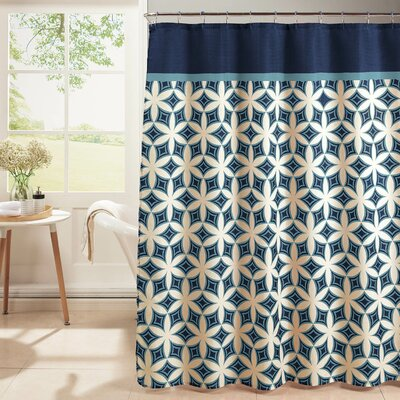 Diamond Weave Textured Shower Curtain Set Color: Blue