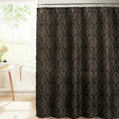 Diamond Weave Textured Shower Curtain Set Color: Black/Chocolate