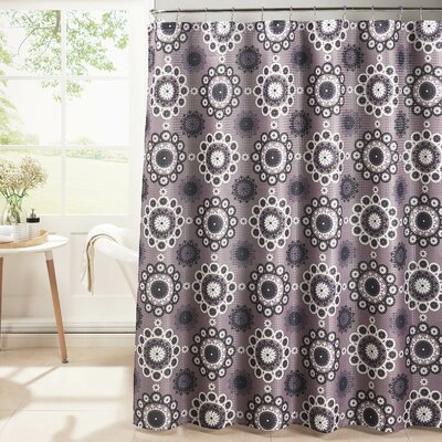 Oxford Weave Textured Shower Curtain Set Color: Purple
