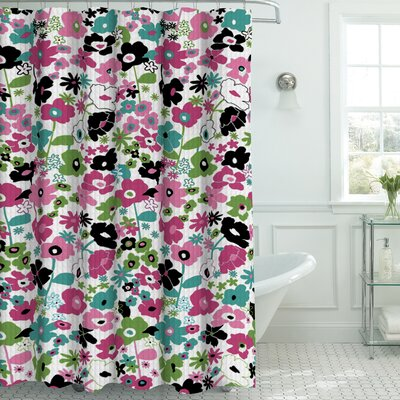 Oxford Fabric Weave Textured Shower Curtain Set Color: Pink/Black