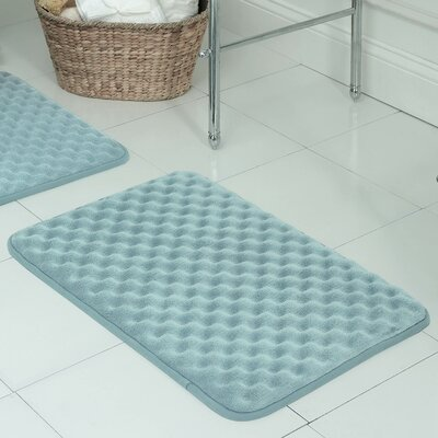 Massage Premium Micro Plush Memory Foam Bath Mat Size: 17 W x 24 L, Color: Aqua
