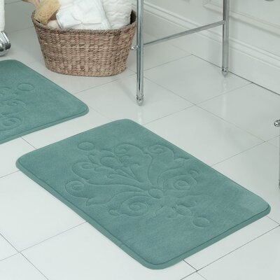 Reve Plush Memory Foam Bath Mat Size: 17 W x 24 L, Color: Marine Blue
