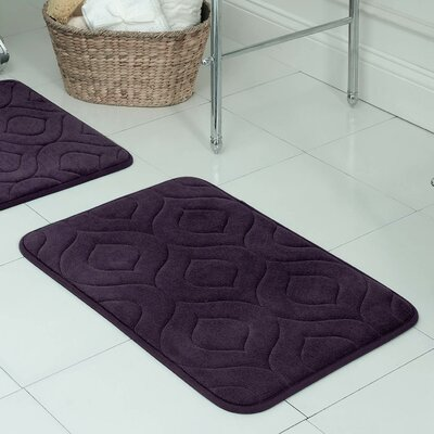 Naoli Plush Memory Foam Bath Mat Size: 17 W x 24 L, Color: Plum