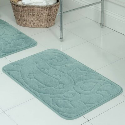 Pelton Plush Memory Foam Bath Mat Size: 17 W x 24 L, Color: Aqua