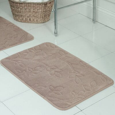 Spring Leaves Micro Plush Memory Foam Bath Mat Size: 17 H x 24 W x 0.5 D, Color: Linen