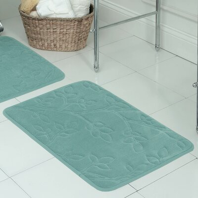Spring Leaves Micro Plush Memory Foam Bath Mat Size: 20 H x 30 W x 0.5 D, Color: Marine Blue