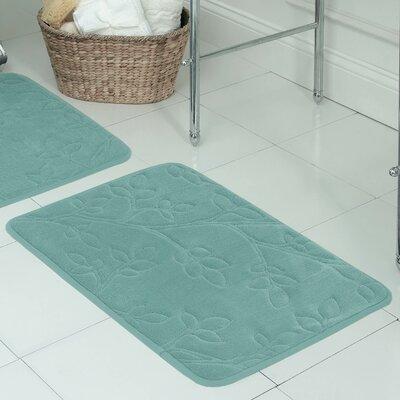 Spring Leaves Micro Plush Memory Foam Bath Mat Size: 17 H x 24 W x 0.5 D, Color: Marine Blue