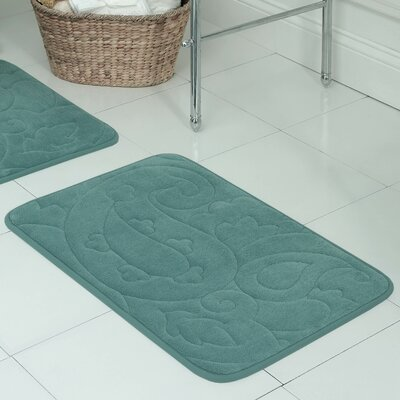 Pelton Plush Memory Foam Bath Mat Color: Marine Blue, Size: 20 W x 32 L