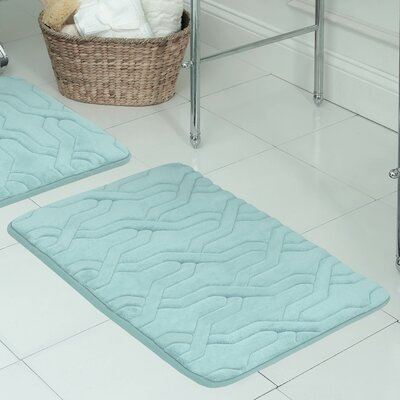Drona Premium Micro Plush Memory Foam Bath Mat Size: 17 W x 24 L, Color: Dusty Blue
