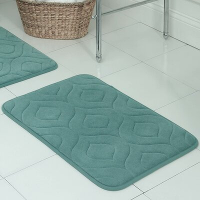 Belhaven Plush Memory Foam Bath Mat Size: 17 W x 24 L, Color: Marine Blue