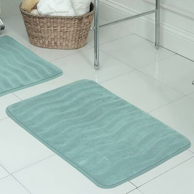 Waves Premium Micro Plush Memory Foam Bath Mat Color: Dusty Blue, Size: 20 W x 32 L
