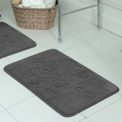 Broadbent Plush Memory Foam Bath Mat Size: 17 W x 24 L, Color: Dark Grey