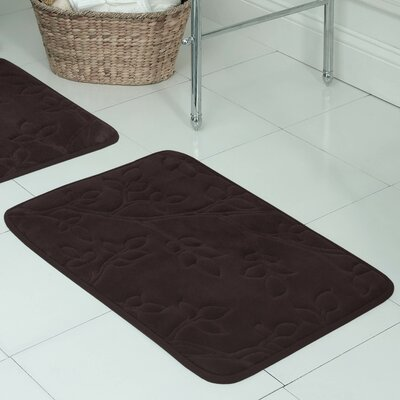 Spring Leaves Micro Plush Memory Foam Bath Mat Size: 17 H x 24 W x 0.5 D, Color: Espresso