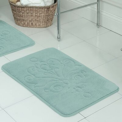 Reve Plush Memory Foam Bath Mat Size: 17 W x 24 L, Color: Aqua