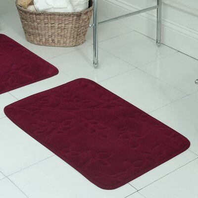 Spring Leaves Micro Plush Memory Foam Bath Mat Size: 17 H x 24 W x 0.5 D, Color: Barn Red