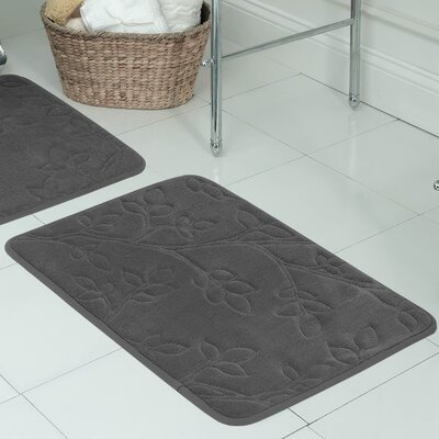 Spring Leaves Micro Plush Memory Foam Bath Mat Size: 17 H x 24 W x 0.5 D, Color: Dark Grey