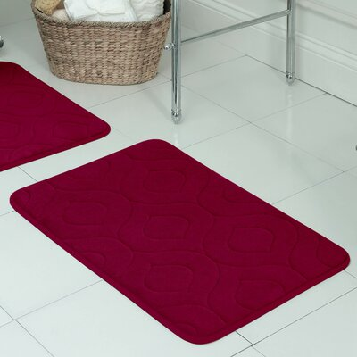 Belhaven Plush Memory Foam Bath Mat Size: 17 W x 24 L, Color: Barn Red