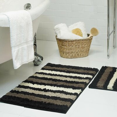 Goodloe Microfiber Bath Rug Size: 18 x 30, Color: Black