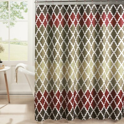 Diamond Weave Textured Shower Curtain Set Color: Barn