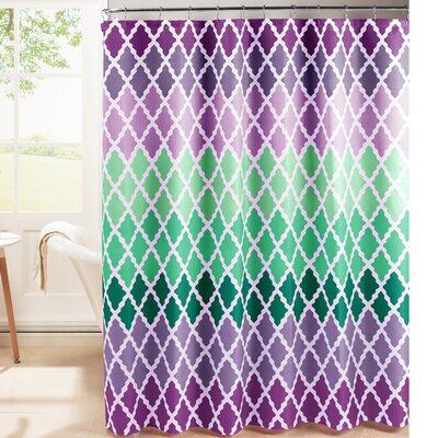 Diamond Weave Textured Shower Curtain Set Color: Purple
