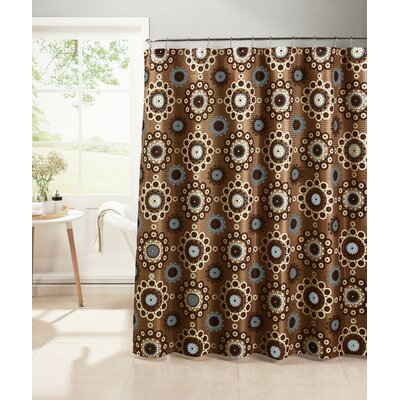 Oxford Weave Textured Shower Curtain Set Color: Chocolate